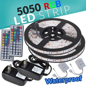 2*5M SMD RGB 5050 Waterproof LED Strip light 300 44 Key Remote 12VSupply Power - intl