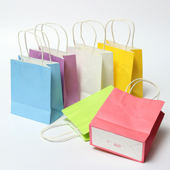 25Pcs Kraft Paper Gift Bag Handles Recyclable Loot Bag Pink BlueYellow Green Purple