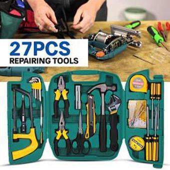 27 In 1 Precision Hardware Repair Tool Box- Screw DriverScrewdriver Hammer Spanner Knife Pliers Set for Household CarRepair