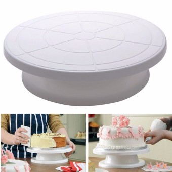 28cm Kitchen Cake Decorating Icing Rotating Turntable Display Stand Plastic - Intl
