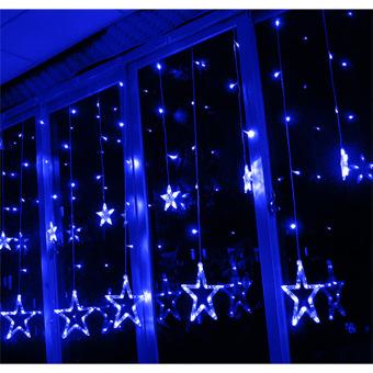 2m x 1m 138 LEDs Curtain Light 12-Star Curtain Light Fairy Light for Window Decoration Christmas Party Birthday Party(Blue)