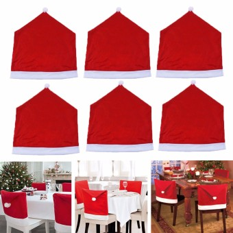 2PCS 6x Christmas Chairs Back Cover Dinner Table Santa Hat Home Party Xmas Decor Gift - intl - 5