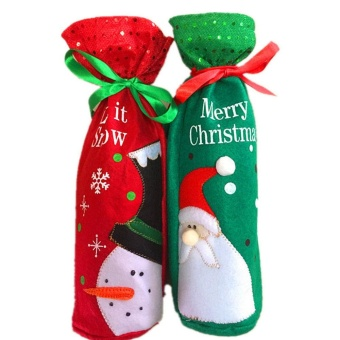 2pcs Christmas Wine Bottle Covers Bags Dinner Table Decoration ForHome Party Decor Green Santa Claus Red Snowman - intl