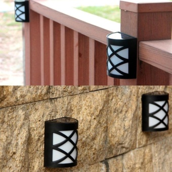 2PCS Classic Waterproof 6 LED Wall Light Solar Powered Yard Path Fence Garden Outdoor Motion Sensor Light Lamp - intl