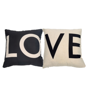 2pcs Decorative Linen Cloth Throw Pillow Case Cushion Cover CouplePillowcase Black and White