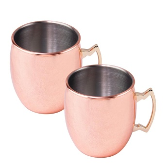 2Pcs Fashion Copper Plating Moscow Mule Style Cups 530ml Mugs forChilled Beer Iced Coffee Tea Vodka Gin Rum Tequila Whiskey MixedDrinks - intl