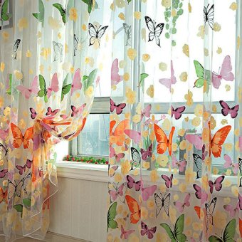 2PCS Floral Butterfly Sheer Curtains Sheers Voile Tulle Window Curtain (Size: 200x100cm, Color: Multicolor) Price Philippines