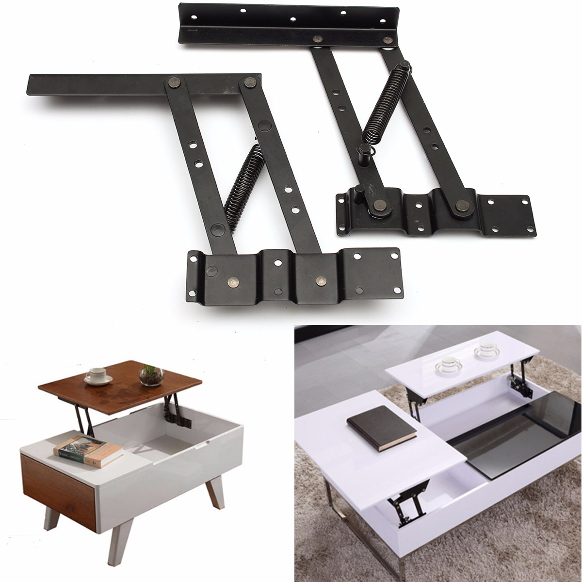 2pcs lift up top coffee table lifting frame mechanism spring