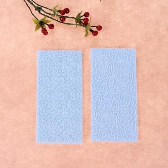 2pcs Moulds Gum Paste Impression Mat Fondant Cupcake Wedding CakeDecor (Blue) - intl - 5