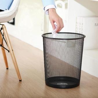2PCS Office Can Metal Mesh Waste Bin Wastebasket Rubbish Paper Net Trash Basket - 5