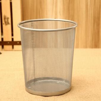 2PCS Office Can Metal Mesh Waste Bin Wastebasket Rubbish Paper Net Trash Basket - 2
