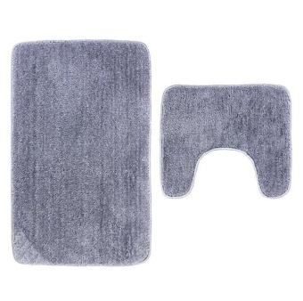 2Pcs Set Solid Color Bath Mat Toilet Non Slip Bathroom Rug Waterproof Floor Carpet - intl - 3