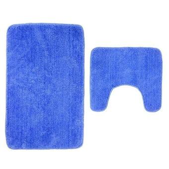 2Pcs Set Solid Color Bath Mat Toilet Non Slip Bathroom Rug Waterproof Floor Carpet - intl - 4