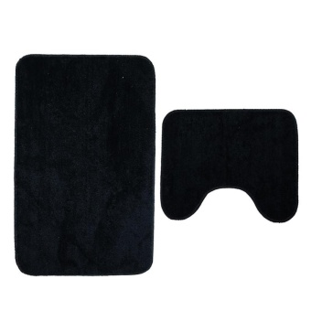 2Pcs Set Solid Color Bath Mat Toilet Non Slip Bathroom RugWaterproof Floor Carpet - intl