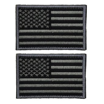 2pcs Tactical USA Flag Patch Self-Adhesive American Flag US UnitedStates of America Military Uniform Emblem Patches (Charcoal Grey) -intl