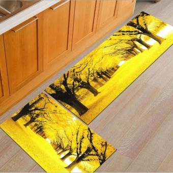 2pcs/set Absorbent Kitchen Floor Mats Non-slip Entrance Doormats Washable Area Rugs and Carpets for Bedrooms Bathroom Soft Indoor Porch Rugs 40x60CM and 40x120CM - intl