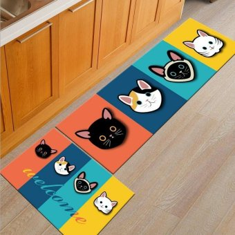 2pcs/set Absorbent Kitchen Floor Mats Non-slip Entrance DoormatsWashable Area Rugs and Carpets for Bedrooms Bathroom Soft IndoorPorch Rugs 40x60CM and 40x120CM - intl