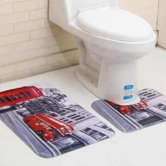 2pcs/set Anti-slip Bath Rugs Set Washable Bathroom Floor Mats Anti Skids Bath Mats Toilet U Shape Pedestal Rugs 45x37cm and 45x75cm - intl
