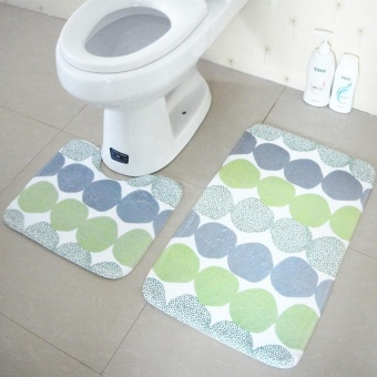 2pcs/set Anti-slip Bath Rugs Set Washable Bathroom Floor Mats AntiSkids Bath Mats Toilet U Shape Pedestal Rugs 45x37cm and 45x75cm -intl