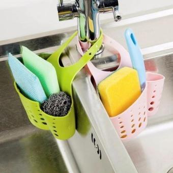 2pcs/set Hanging Drain Bag Basket Bath Storage Gadget Tools SinkHolder Shelves Soap Holder Kitchen Dish Cloth Sponge Holder Storage- intl - 2