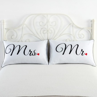 2pcs/set Highly Personality Pure White Couples Pillowcases PillowCover Bedding Pillow Cases 74*48*2cm - intl