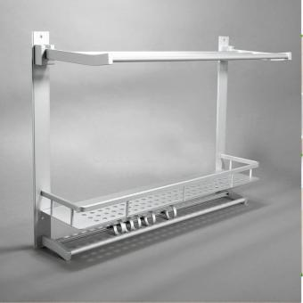 3 Layer Aluminum Wall Mounted Towel Rack with Hooks - 2