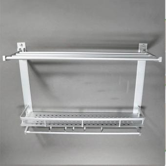 3 Layer Aluminum Wall Mounted Towel Rack with Hooks - 3
