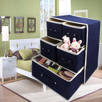 3 Layer Foldable Woven Clothing Storage Box (Dotted Blue)