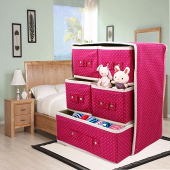 3 Layer Foldable Woven Clothing Storage Box (Dotted Pink)