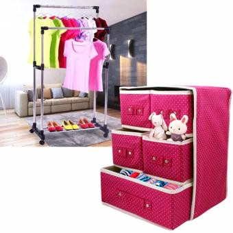 3 Layer Foldable Woven Clothing Storage Box (Dotted Pink) with HighQuality DIY Double Pole Stainless Steel Clothes Rack