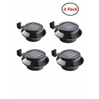 3-led Black Solar Powered Deck Step Fence Gutter Yard Roof WallGate Pathway Lobby Driveway Backyard LED Lights (4 PC Pack) - intl