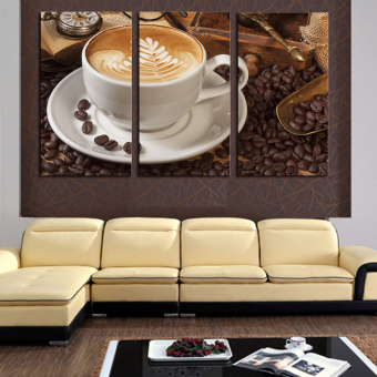 3 Panel Coffee Wall Art Picture Modern Painting Canvas Home Decoration Living Room Canvas Print--Large Canvas Art (No Frame)