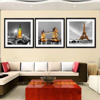 3 Panel Modern Paris Effiel Tower Painting Picture City Building Bridge Landscape Painting Canvas Wall Art HD Painting No Frame - 2