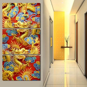 3 Panels Artwork Canvas Painting Wall Art Canvas Paintings ForLiving Room Wall Cuadros China Dragon Canvas Prints Photo(No frame)