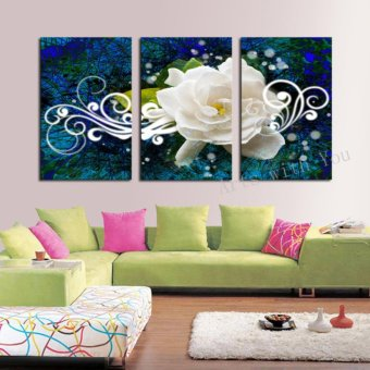 3 Panels Flower HD Canvas Print Painting Artwork Modern Home WallDecor painting Canvas Art HD Picture Paint on Canvas Prints (NoFrame) - intl