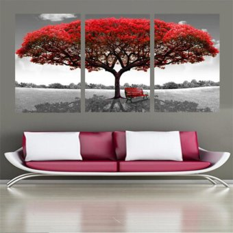3 Panels Red Tree Landscape Modern Home Wall Decor Painting CanvasArt HD Print Painting Canvas Wall Picture For Home Decor (No Frame)- intl