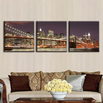 3 Pcs/Set Classic Night Brooklyn Bridge Landscape Canvas Print Modern Wall Paintings With Frame Wall Art Picture Home Decoration(No Frame) - 2