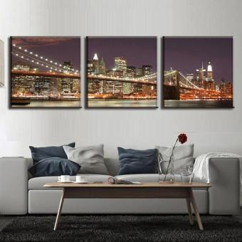 3 Pcs/Set Classic Night Brooklyn Bridge Landscape Canvas Print Modern Wall Paintings With Frame Wall Art Picture Home Decoration(No Frame)
