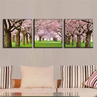 3 Pcs/Set Modern Landscape Paintings With Frame Canvas Print The Peach Blossom Avenue Wall Art Top Home Decoration (No Frame) - intl