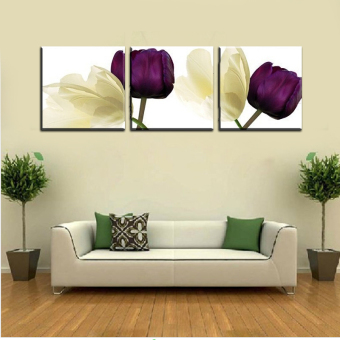 3 Piece Hot Sell Modern Wall Painting Abstract purple flower Home Decorative Art Picture Paint on Canvas Prints (No Frame)