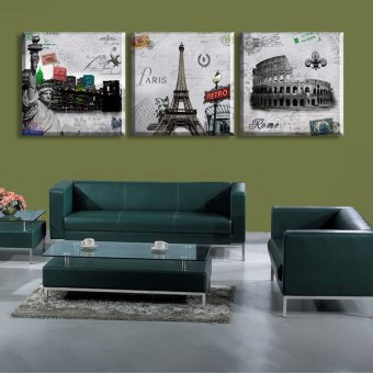 3 Piece Hot Sell Modern Wall Painting Paris Roman Landscape HomeDecorative Art Picture Paint on Canvas Prints(No frame)