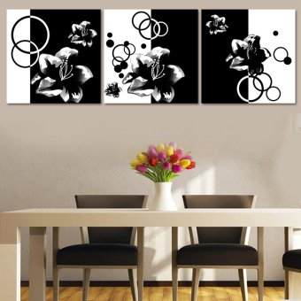 3 Piece Picture Hot Sell Abstract Black And White Lilies ModernHome Wall Decor Painting Canvas Art HD Print For Living Room(Noframe)