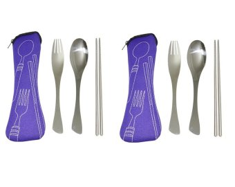 3 Piece Stainless Steel Fork Spoon Chopsticks Portable TravelCamping Cutlery Set with Case Set of 2 (Purple)