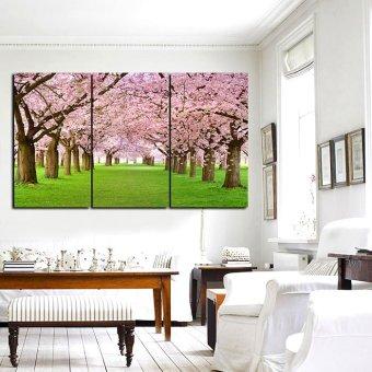 3 Pieces Cherry Blossom Oil Painting Print On Canvas Wall MuralDecor 40cm*70cm*3 Panels - 2