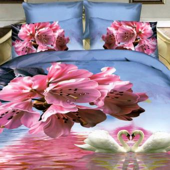 3 Pieces King 3D Bedsheet Pink Flowers Theme Fitted Sheet CoverLinen Collection Bedding Set with Pillowcase