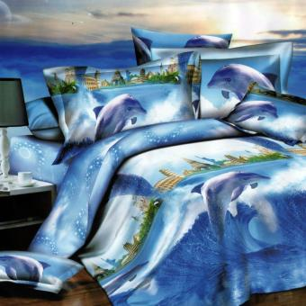 3 Pieces Queen 3D Bedsheet Modern Dolphin City Show Theme FittedSheet Cover Linen Collection Bedding Set with Pillowcase