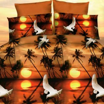 3 Pieces Queen 3D Bedsheet Sunset Theme Fitted Sheet Cover LinenCollection Bedding Set with Pillowcase