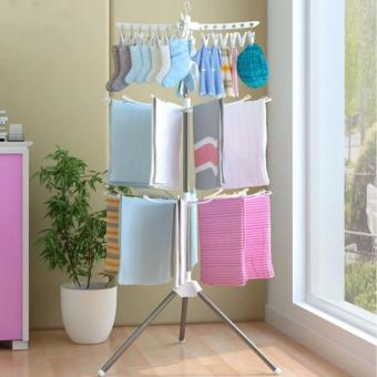 3 Tiers Foldable Towel Drying Rack Clothes Hanger - intl