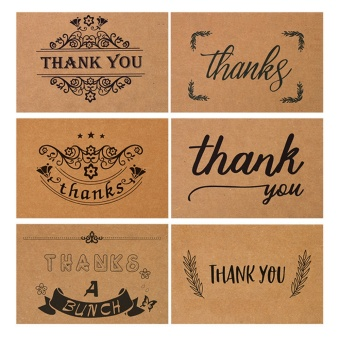 30 PCS 5 Styles Vintage Kraft Paper Thank You Greeting Cards Holiday Blessing Cards with Envelop for Christmas Mother's Day Birthday Thanksgiving Day - intl