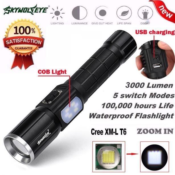 3000Lumen 5 Modes Zoomable CREE XM-L T6 LED 26650 Flashlight Focus Lamp+ COB -